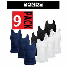 Mens Bonds 9 Pack Chesty Navy Black White Singlet Singlets S M L Xl 2Xl 3Xl 4Xl