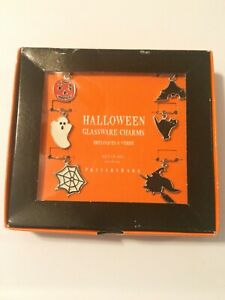 Pottery Barn Halloween Glassware Wine Charms Set Of 6 Witch, Ghost, Cat, Bat