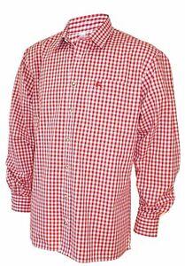 Trachtenhemd Karo-Hemd Trachten-Pfoadl Karohemd rot kariert Herrenhemd langarm
