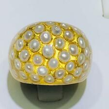 24k Gold Foil Genuine Pearl Inlay Clear Resin Dome Halo Statement Band Ring Sz7