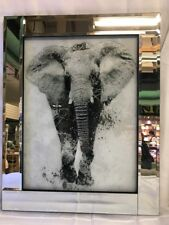 Elephant Mirrored Silver Glitter Picture
