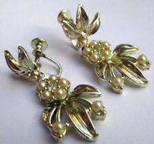 boucles d'oreilles à vis couleur or cristaux diamant ancien bijou vintage 2911