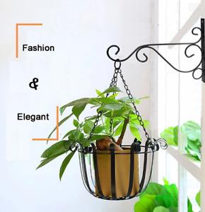 2PCS Metal Hanging Basket Hook Outdoor Garden Wall Decor Plant Hanger Brackets