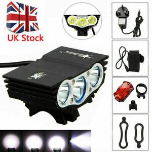 12000LM XML T6 X3 LED MTB Bike Front Light SolarStorm Bicycle +Rear Light Set UK