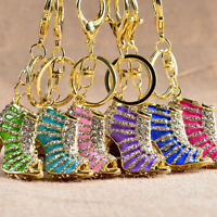 Crystal Shoe High Heel Keyring Rhinestone Purse Charm Pendant Bag Key Chain HGUK