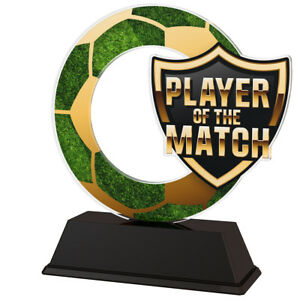 FOOTBALL PLAYER OF THE MATCH ACRYLIC TROPHY 100mm, FREE ENGRAVING, 2 SIZES