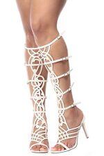 Breckelles Diva-36 White Stiletto Gladiator Sandals NIB