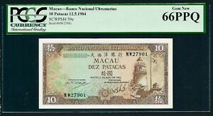 Macao 🇲🇴 1984, UNC Banknote 10 Patacas P59e, Grade 66 PPQ
