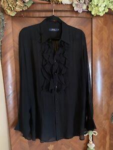 Ralph Lauren Black Sheer Silk Ruffle Front Blouse Size XL Uk 16 18 20