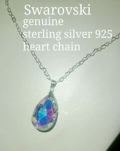 Swarovski pendant on sterling silver 925 heart chain