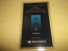1/4 GRAIN RHODIUM METAL CRYSTAL, BULLION CARD, 99.9 PURE