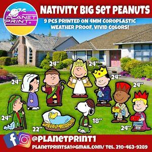 Big yard Signs- Nativity peanuts Holiday lawn signs 9pcs