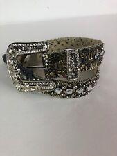 BHW Western Bling Belt Rhinestone Leather Cowboy Cowgirl XS NEW Gold Womens