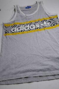 Adidas Mens Sz M Medium Striped Gray Trefoil Logo Cotton Tank Top Shirt