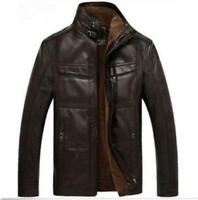 New mens warm  Leather fur lining jacket coat outwear trench Parka Winter Chic S