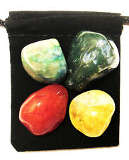 CHRON'S DISEASE RELIEF Tumbled Crystal Healing Set = 4 Stones + Pouch + Card