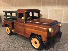 LARGE HAND CARVED WOODEN TRUCK JEEP ROLLING WHEELS
