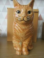 More details for beautiful very large 21.5cm ginger cat flower vase by quail pottery boxed