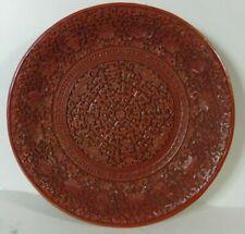 Großer Chinesischer Rotlackteller 4-Zeichen-Siegelsignatur