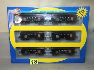 SET OF SIX ATHEARN HO SCALE #91183 READING 34' 2 BAY OFFSET HOPPER CARS L.N.