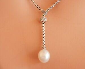 David Yurman Estate SSilver Diamond and Pearl Adjustable Lariat Drop Necklace