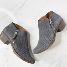 Lucky Brand Grey Suede Perforated Ankle Booties Boots Size 5