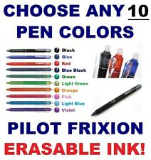 10x FRIXION Erasable Ink Pilot Clicker Blue Black Red Green Purple Pen 0.7mm 0.5