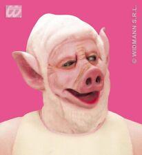 Pig Mask With Hair Hood Saw Farm Animal Halloween Fancy Dress Clr