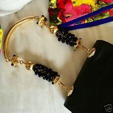 1991 vintage GIANNI VERSACE COUTURE black leather embellished evening bag