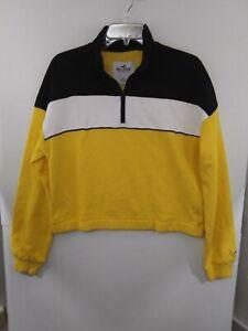 Hollister Womens Medium 1/2 Zip Sweatshirt NWT $39.95 Black/White/Yellow