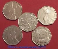 2016 Set Beatrix Potter Nutkin , Anniversary , Rabbit ,Tiggy , Duck 50p Coin UNC