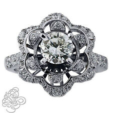 2.42 CARATS VS DIAMOND ENGAGEMENT RING 14K WHITE GOLD VINTAGE STYLE NOT ENHANCED