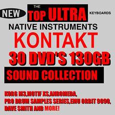 30 DVD'S 130 GB KONTAKT 3,4,5,6 NKI KOMPLETE 7 8 REAKTOR TOP SAMPLES COLLECTION