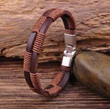 G28 New Surfer Hemp Wrap Leather Handmade Men's Wristband Bracelet Cuff Brown A