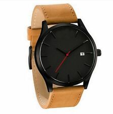 Men's Wristwatch Sport Stainless Steel Case Leather Band Quartz Analog Watches