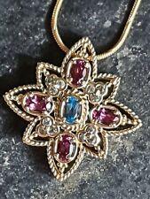 9ct Gold Diamond Amethyst Aquamarine Pendant On Necklace 375 QVC 7.86g Vintage