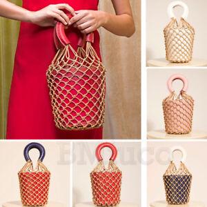 Womens Fish Net Bucket Bag Straw Knot Net Bag Faux Leather Handbag Flowerpot Bag