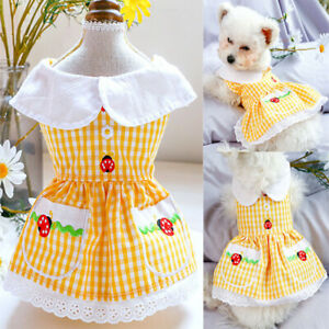 Adorable Dog Dress Pet Puppy Cat Clothes Yorkshire Maltese Poodle Costume Skirt