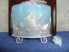 "Blue Ocean Theme Wax Oil Lamp/w starfish & shells/w Stand 7""x 2 7/8""x6 7/8"" high"