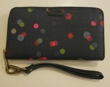 FOSSIL Emma RFID Phone Zip-Around Wristlet Navy Polka Dot Clutch Wallet Strap