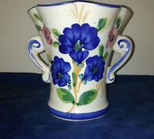 ANTIQUE HAND DECORATED PORTUGESE Blue Poppy Floral VASE ALCOBACA PORTUGAL 😏