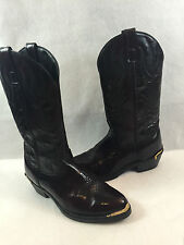 Laredo 12628 Cowboy Boots Black Cherry Leather Gold Rands Mens Size 8.5 EW