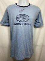 UFC Champion Matt Hughes Autographed T Shirt Men's Size XL Signed Blue MMA USA