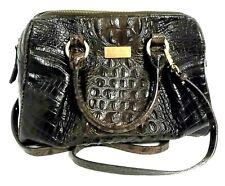 "Brahmin Croc-Embossed Brown Leather Satchel Handbag w/Crossbody 12"" High Sheen"