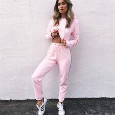 Womens 2Pcs Tracksuit Sweatshirt Pants Set Hooded Crop Tops Jogging Sportswear