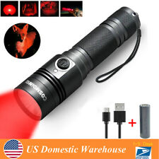 300 Yards Hunting Red Light USB Rechargeable LED Tactical Flashlight 18650 Lamp