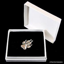Animal Paw Print Pewter Pin Brooch in Gift Box - Dog Fox Wolf Bear Badge Present