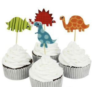 24 X DINOSAUR CUPCAKE TOPPERS ANIMAL THEME PARTY