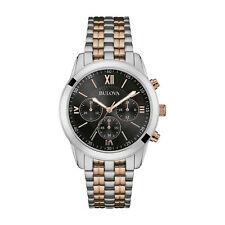 Bulova Mens Two Tone Rose Gold Chronograph Watch 98A153
