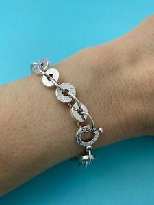 Tiffany & Co Sterling Silver 1837 Circle Disc Link Bracelet Medium 7.25 RRP $965